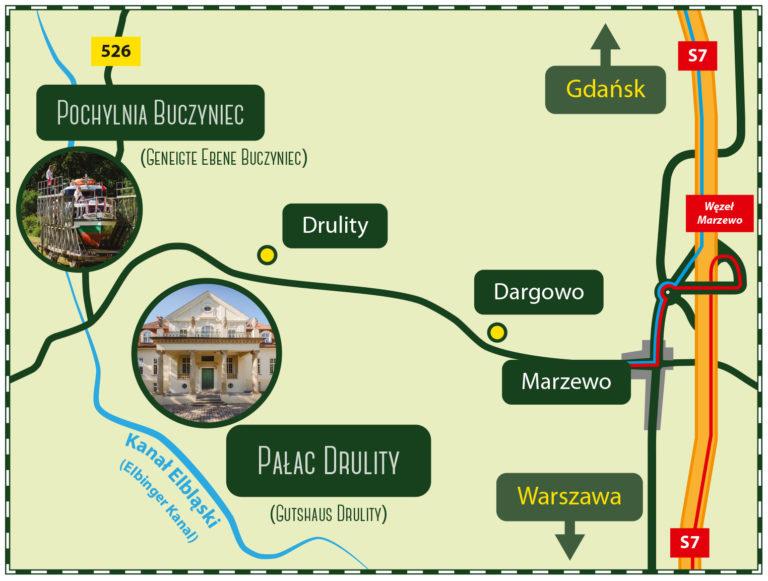 Anreise Karte Pałac Drulity